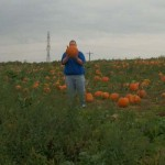 Daddy's waaaay out there with his pumpkin pick!