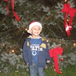 Jace in front of the Town tree